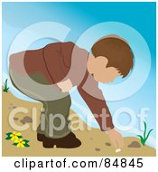 Royalty Free RF Clipart Illustration Of A Brunette Caucasian Boy On A Beach Bending Over To Pick Up A Shell by Pams Clipart