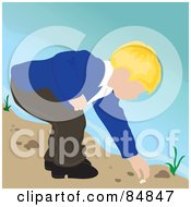 Royalty Free RF Clipart Illustration Of A Blond Caucasian Boy On A Beach Bending Over To Pick Up A Shell by Pams Clipart