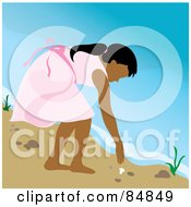 Royalty Free RF Clipart Illustration Of An Indian Girl Bending Over To Pick Up A Seashell On A Beach by Pams Clipart