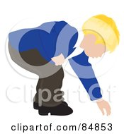 Royalty Free RF Clipart Illustration Of A Blond Caucasian Boy Bending Over To Reach For Something by Pams Clipart