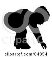 Royalty Free RF Clipart Illustration Of A Silhouetted Boy Bending Over To Reach For Something by Pams Clipart