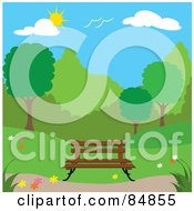 Royalty Free RF Clipart Illustration Of A Wooden Bench In A Spring Time Park