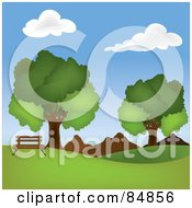 Royalty Free RF Clipart Illustration Of A Park Bench On A Hill Near Mountains And Mature Oak Trees