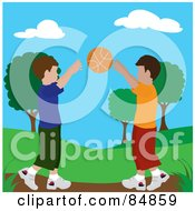 Royalty Free RF Clipart Illustration Of Two Boys Playing Catch At A Park by Pams Clipart