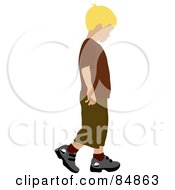 Royalty Free RF Clipart Illustration Of A Little Blond Caucasian Boy Walking To The Right by Pams Clipart