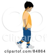 Royalty Free RF Clipart Illustration Of A Little Indian Boy Walking To The Right by Pams Clipart