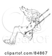 Royalty Free RF Clipart Illustration Of A Black And White Girl Swinging by Pams Clipart