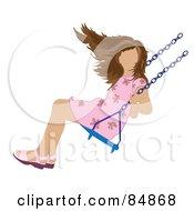 Brunette Caucasian Girl Swinging