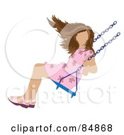 Royalty Free RF Clipart Illustration Of A Brunette Caucasian Girl Swinging by Pams Clipart