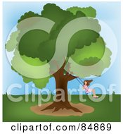 Royalty Free RF Clipart Illustration Of A Girl Swinging From A Mature Oak Tree In A Yard by Pams Clipart