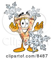 Slice Of Pizza Mascot Cartoon Character With Three Snowflakes In Winter