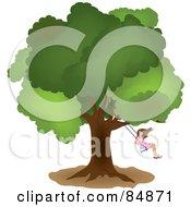 Little Girl Swinging From A Mature Oak Tree