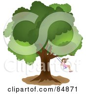 Royalty Free RF Clipart Illustration Of A Little Girl Swinging From A Mature Oak Tree by Pams Clipart