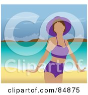 Royalty Free RF Clipart Illustration Of A Faceless Woman In A Purple Swimsuit And Hat Standing On A Tropical Beach