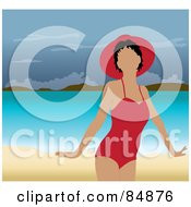 Royalty Free RF Clipart Illustration Of A Faceless Woman In A Red Swimsuit And Hat Standing On A Tropical Beach