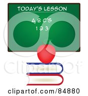 Royalty Free RF Clipart Illustration Of A Chalkboard With Todays Lesson Written On It With An Apple On A Stack Of Books