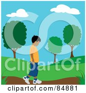 Royalty Free RF Clipart Illustration Of A Lonely Hispanic Boy Walking On A Park Path by Pams Clipart