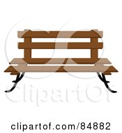 Royalty Free RF Clipart Illustration Of A Wooden Park Bench With Iron Legs