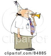 Royalty Free RF Clipart Illustration Of A Caucasian Businessman Blowing A Party Horn And Wearing A Hat by djart