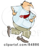 Royalty Free RF Clipart Illustration Of A Chubby Caucasian Businessman Running Away