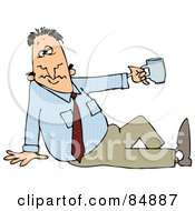 Businessman Sitting On The Ground And Holding Uyp A Tea Cup