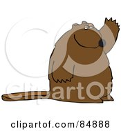 Royalty Free RF Clipart Illustration Of A Big Brown Beaver Waving And Facing Right by djart
