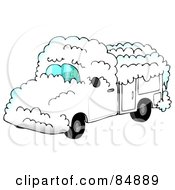 Royalty Free RF Clipart Illustration Of A Man Driving A White Utility Truck Covered In Snow by Dennis Cox