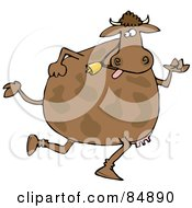 Brown Cow Wearing A Bell And Running On Its Hind Legs