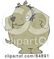 Royalty Free RF Clipart Illustration Of An Aggressive Brown Dog Wearing A Spiked Collar And Gritting His Teeth