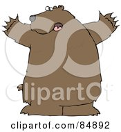 Royalty Free RF Clipart Illustration Of A Large Brown Bear Holding His Arms Out by djart