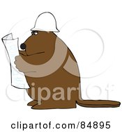 Royalty Free RF Clipart Illustration Of A Big Brown Beaver Reading Blueprints And Wearing A Hardhat