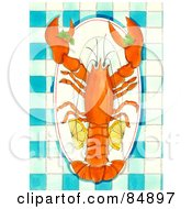 Lobster Served On A Platter With Lemon Slices Over Blue Gingham Tablecloth