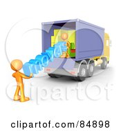 Two 3d Orange People Carrying The Word Movers Out Of A Truck