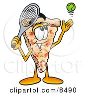 Slice Of Pizza Mascot Cartoon Character Preparing To Hit A Tennis Ball