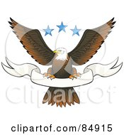 Royalty Free RF Clipart Illustration Of A Bald Eagle Perched On A Blank White Banner Under Three Blue Stars