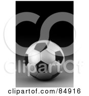 Royalty Free RF Clipart Illustration Of A 3d Rendered Black And White Soccer Ball On A Dark Background by stockillustrations