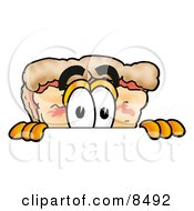 Clipart Picture Of A Slice Of Pizza Mascot Cartoon Character Peeking Over A Surface