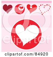 Royalty Free RF Clipart Illustration Of A Digital Collage Of Five Love Hearts Over A Pink Striped Background Version 2 by MacX