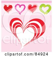 Royalty-Free (RF) Clip Art Illustration of a Digital Collage Of Five Love Hearts Over A Pink Striped Background - Version 1 by MacX