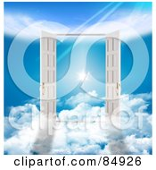 Royalty Free RF Clipart Illustration Of Two 3d French Doors On Clouds Opening To A Flare In The Heavens by MacX #COLLC84926-0098