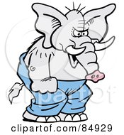 Royalty Free RF Clipart Illustration Of A Mad Elephant Throwing A Temper Tantrum by Johnny Sajem