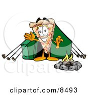 Slice Of Pizza Mascot Cartoon Character Camping With A Tent And Fire