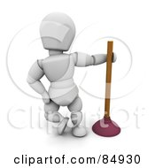 3d White Character Leaning By A Toilet Plunger by KJ Pargeter