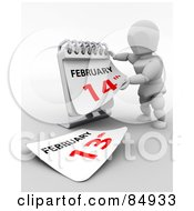 Royalty Free RF Clipart Illustration Of A 3d White Character Revealing February 14th On A Desk Calendar