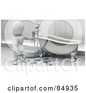 Royalty Free RF Clipart Illustration Of A 3d White Character Plumber Fixing Claw Foot Tub Pipes by KJ Pargeter