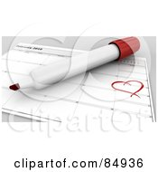 Royalty Free RF Clipart Illustration Of A 3d Marker Over A February Calendar With A Heart Around The 14th