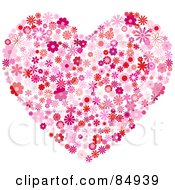 Royalty Free RF Clipart Illustration Of A Floral Heart Of Red And Pink Flowers