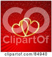 Royalty Free RF Clipart Illustration Of Two 3d Golden Interlocked Hearts With A Shadow Over A Red Shining Background