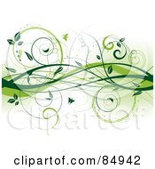 Royalty Free RF Clipart Illustration Of A Background Of Green Vines And Butterflies by KJ Pargeter
