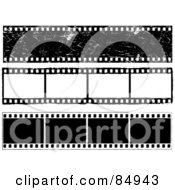Royalty Free RF Clipart Illustration Of A Digital Collage Of Three Film Strips With Blank Frames by KJ Pargeter
